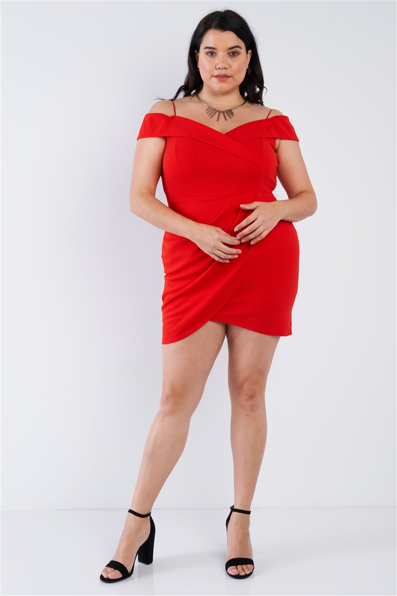 Tomato Red Off The Shoulder Plus Size Mini Dress