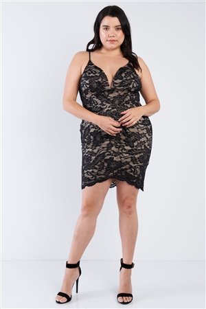 Plus Size Black Floral Lace Bodycon Mini Dress