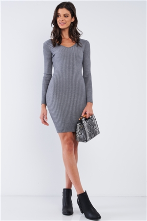 Heather Grey V-Neck Long Sleeve Ribbed Sweater Mini Dress