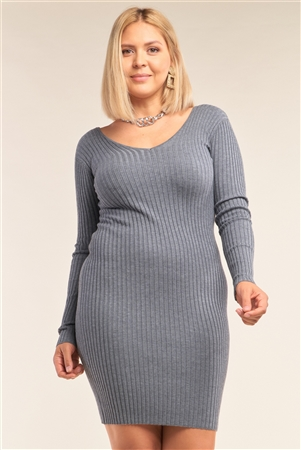 Junior Plus Size Heather Grey V-Neck Long Sleeve Ribbed Sweater Bodycon Mini Dress /3-2