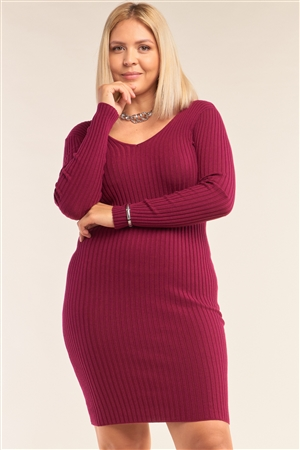 Junior Plus Size Magenta V-Neck Long Sleeve Ribbed Sweater Bodycon Mini Dress /3-3