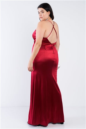 Plus Size Burgundy Surplice Open Criss Cross Back Maxi Dress