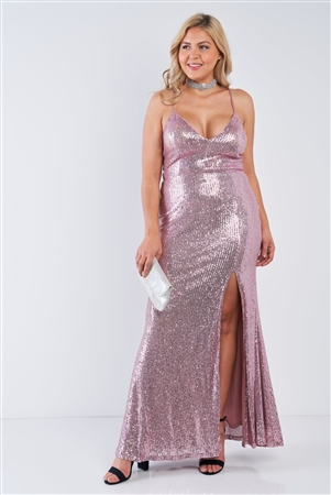 Junior Plus Size Mauve Sequin V-Neck Criss Cross Open Back Side Slit Maxi Dress