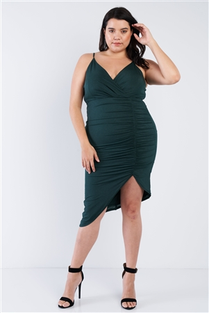 Plus Size Sheen Hunter Green Scrunch Dress
