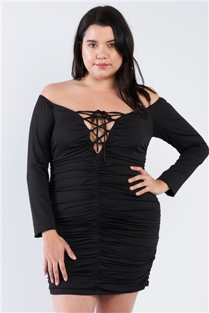 Black Plus Size Off The Shoulder Lace Up Ruched Mini Dress