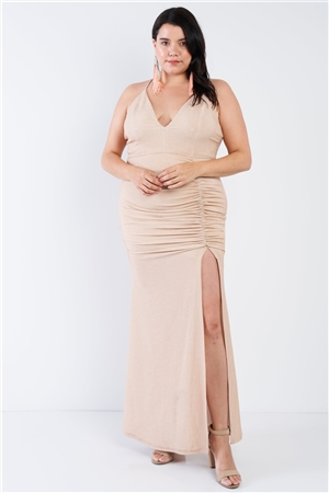 Plus Size Champagne Gold Floor Length Dress