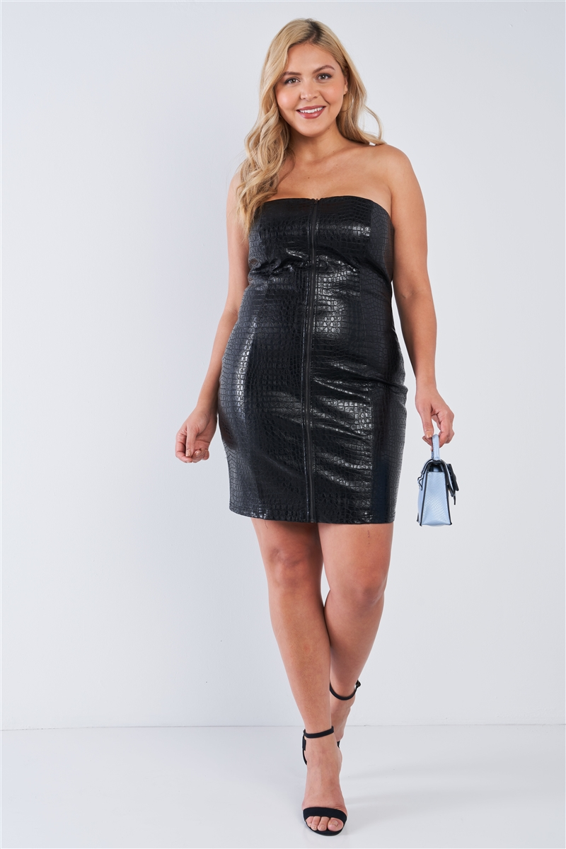 Junior Plus Size Black Croc Vegan Leather Zip Front Tube Mini Dress