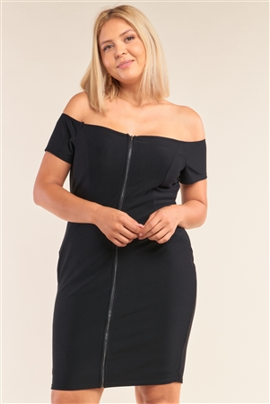 Junior Plus Size Black Fitted Off-The-Shoulder Front Zipper Bodycon Mini Dress /2-2-2