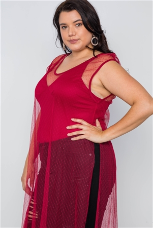 Plus Size Red Dotted Mesh Cover Up With Bodysuit Set