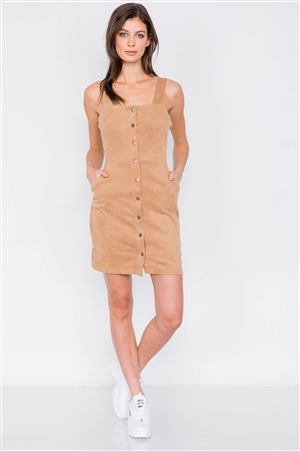 Camel Suede Ribbed Button Down Square Neck Boho Mini Dress