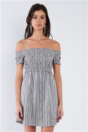 Black Grey & White Stripe Ruched Off-The-Shoulder Mini front Button Dress