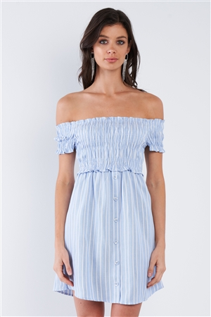 Blue & White Stripe Ruched Off-The-Shoulder Mini front Button Dress