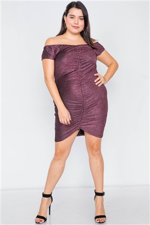 Plus Size Pink Ruched Draw String Center Mini Glitter Dress