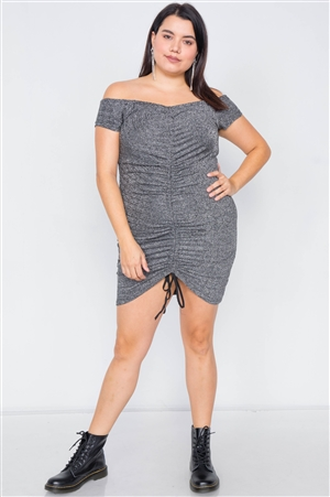 Plus Size Silver Ruched Draw String Center Mini Glitter Dress