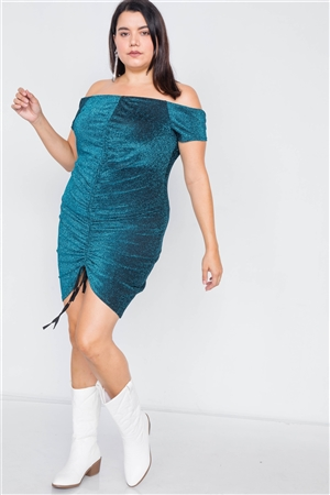 Plus Size Teal Ruched Draw String Center Mini Glitter Dress