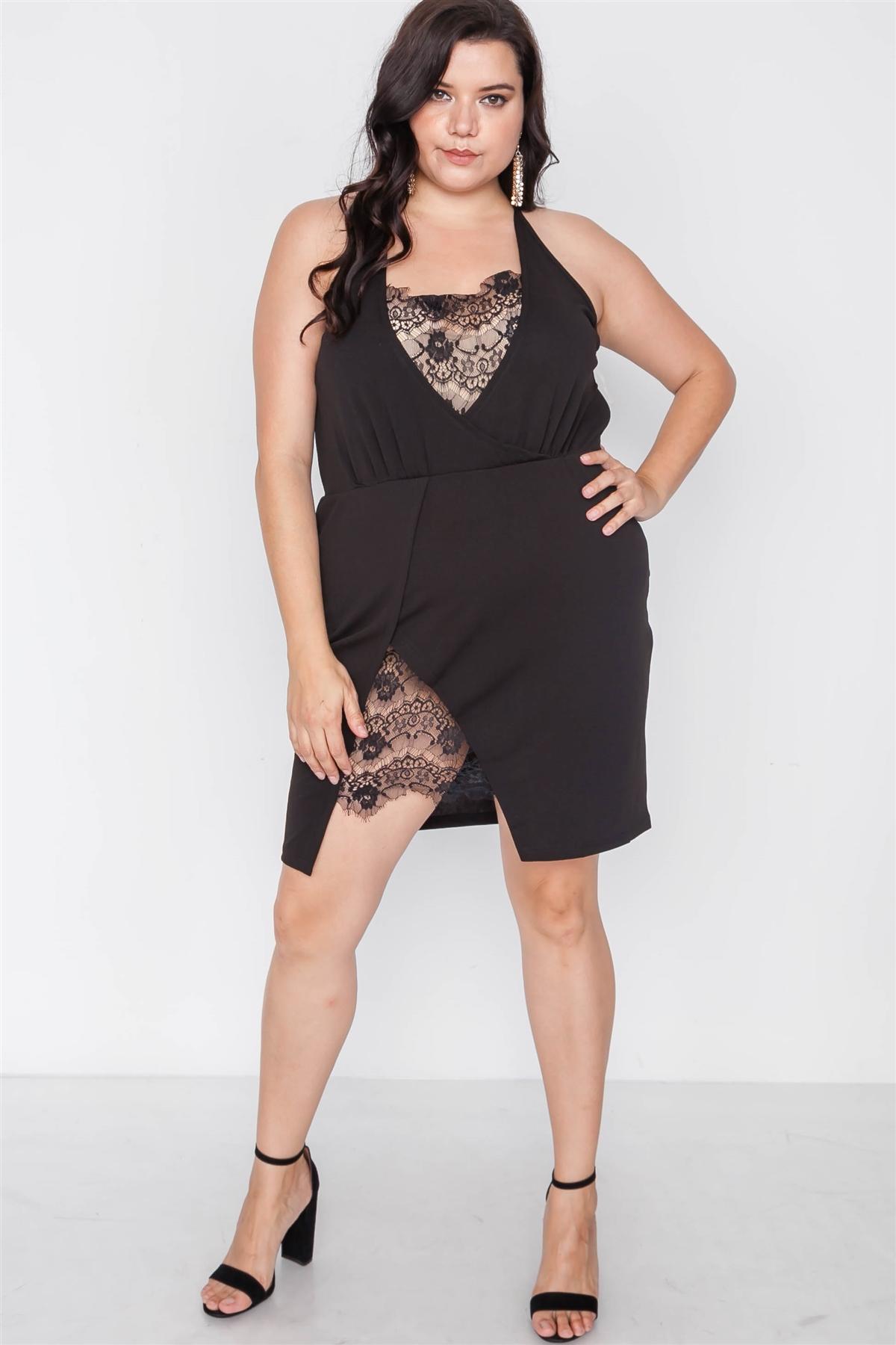 Plus Size Black Lace Detail Bodycon Mini Dress / 1-3-1