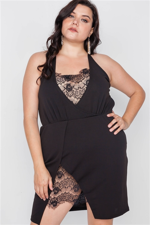 Plus Size Black Lace Detail Bodycon Mini Dress