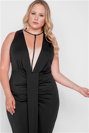 Plus Size Black Deep V-Neck Strap Detail Maxi Dress