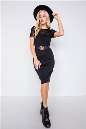 Black Knit Ribbed Square Neck Back Mini Slit Midi Chic Dress
