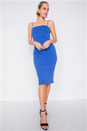 Royal Blue  Knit Ribbed Square Neck Back Mini Slit Midi Chic Dress