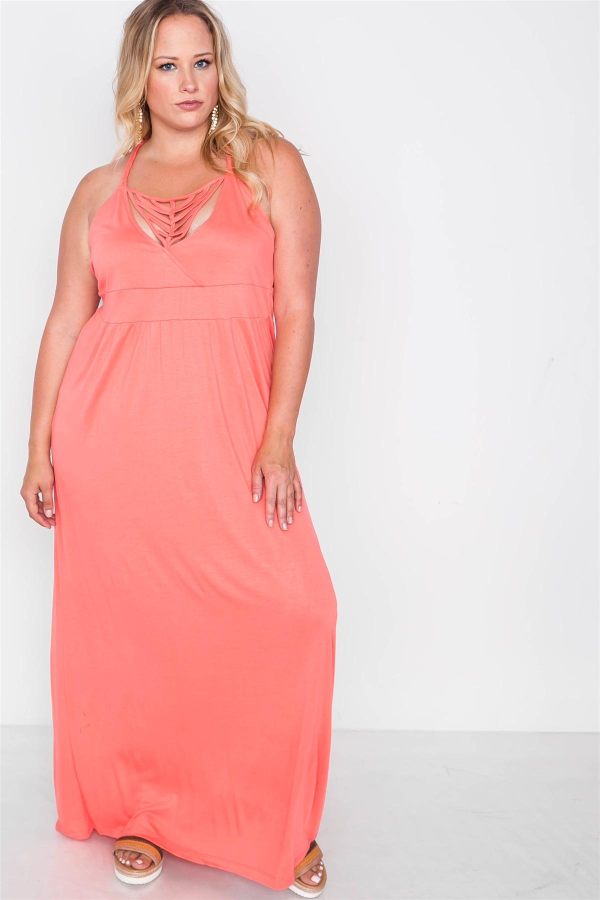 Plus Size Coral Strap Detail Cami Solid Maxi Dress / 2-2-2
