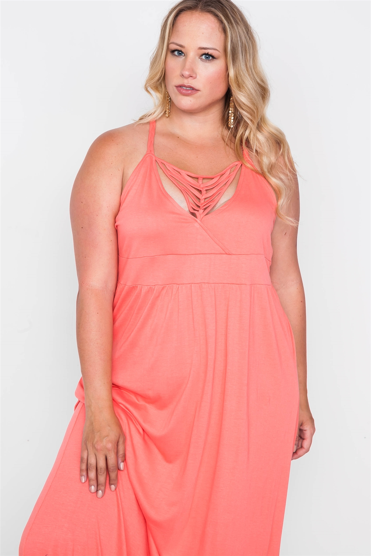 Plus Size Coral Strap Detail Cami Solid Maxi Dress / 2-2-2