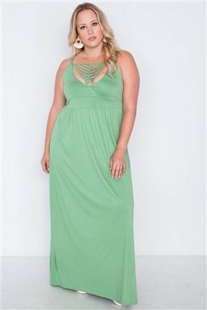 f0001e4d1d2 Quick View this Product Plus Size Sage Strap Detail Cami Solid Maxi Dress