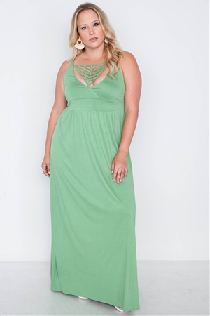 Plus Size Sage Strap Detail Cami Solid Maxi Dress