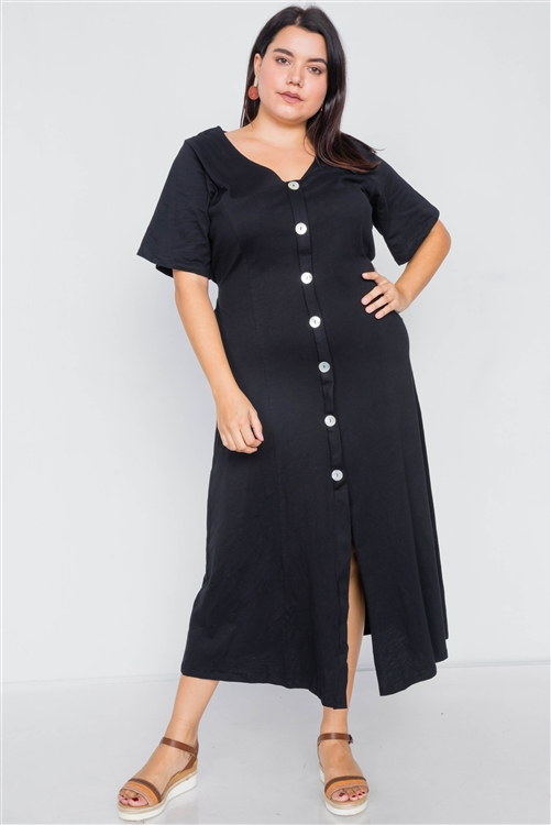 Plus Size Black Cotton V-Neck Wrap Opal Button Down Maxi Dress