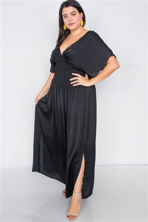 Plus Size Black V-Neck Satin Kimono Sleeve Maxi Dress