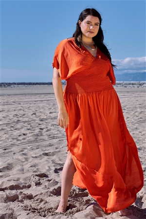 Plus Size Coral V-Neck Satin Kimono Sleeve Maxi Dress /2-2-2