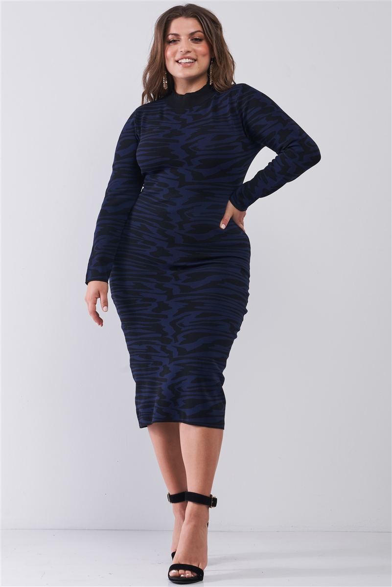Junior Plus Black & Royal Zebra Print Turtle Neck Long Sleeve Fitted Midi Dress /2-2-2