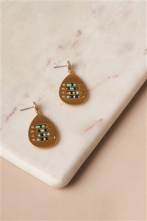 Turquoise Intricate Beaded Tear Drop Earring