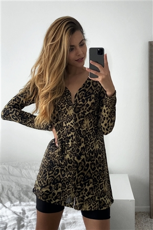 Leopard Print Long Sleeve Button Down Mini Dress