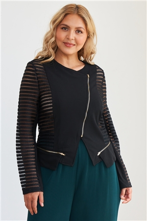 Junior Plus Size Black Mesh Stripped Chiffon Long Sleeve Jacket
