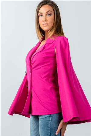 Magenta Double Breasted Cape Blazer