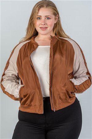 Plus Size Camel Color Block Stand Collar Zipper Long Sleeve Bomber Jacket