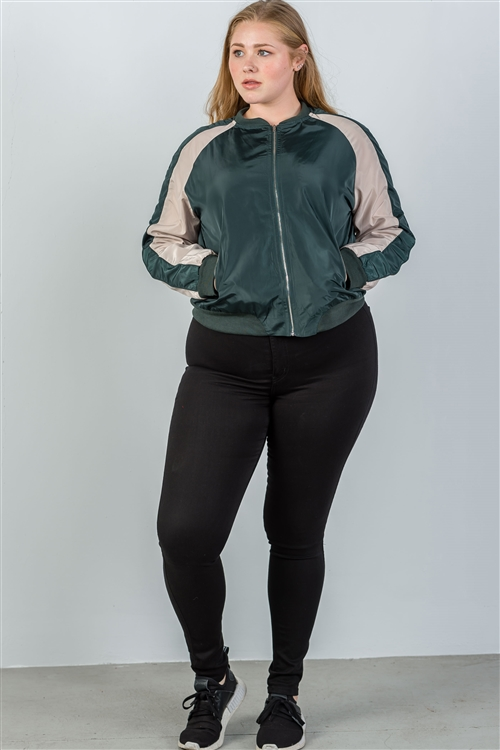 Plus Size H. Green  Color Block Stand Collar Zipper Long Sleeve Bomber Jacket