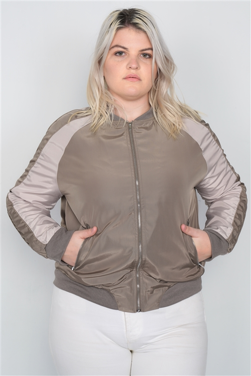 Plus Size Khaki Color Block Stand Collar Zipper Long Sleeve Bomber Jacket