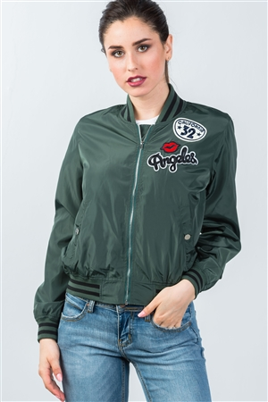 Dark Green Patch Bomber Jacket