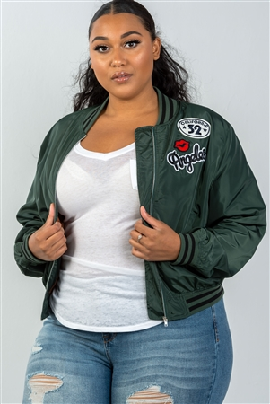 Plus Size Dark Green Patch Bomber Jacket