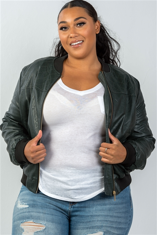 Plus Size Peacock Pleather Bomber Jacket