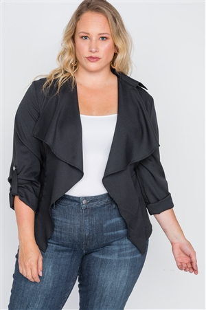 be6a89af2d5 Quick View this Product Plus Size Black Draped Open Front Light Jacket