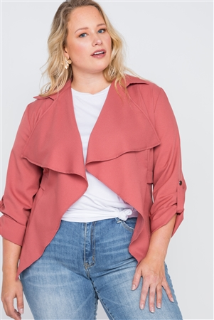 c7122dd36c Quick View this Product Plus Size Terra Cotta Draped Open Front Light Jacket