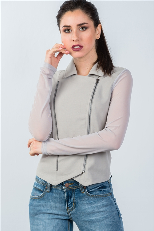 Grey Mesh Long Sleeve Double Zipper Front Jacket