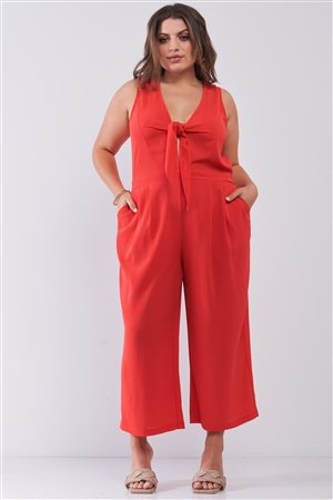 Junior Plus Size Coral Sleeveless V-Neck Self-Tie Front Detail Wide Leg Jumpsuit