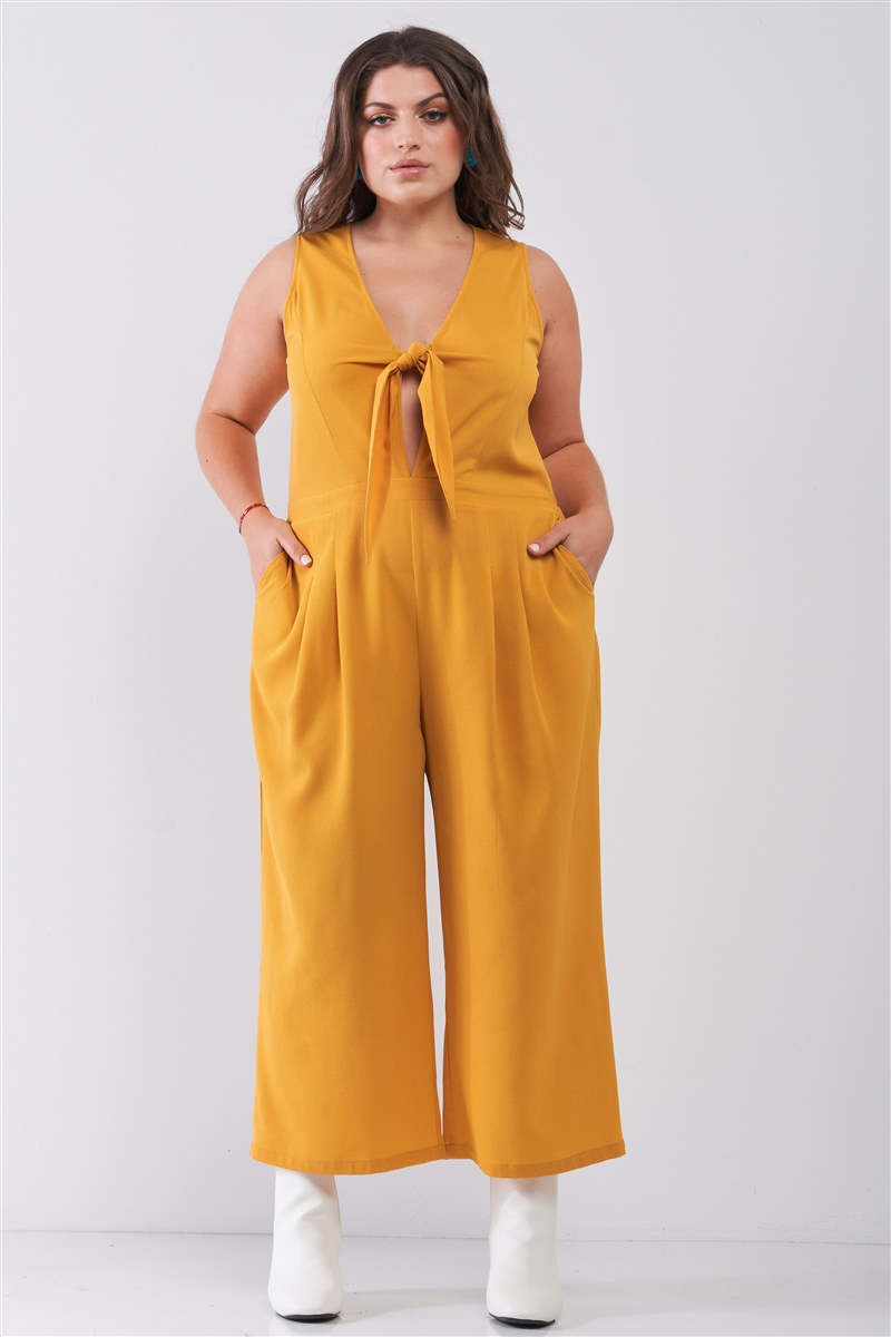 Junior Plus Size Yellow Sleeveless V-Neck Self-Tie Front Detail Wide Leg Jumpsuit /2-2-2