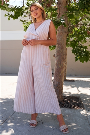 Plus Size Beige Stripe Surplice Neck Overall Jumpsuit