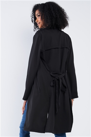 Black Classy Open Front Self-Tie Relaxed Fit Long Sleeve Lightweight Midi Trench Coat Jacket /2-2-2