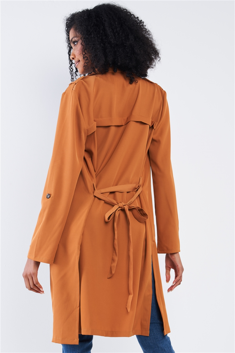 Brown Classy Open Front Self-Tie Relaxed Fit Long Sleeve Lightweight Midi Trench Coat Jacket /2-2-2